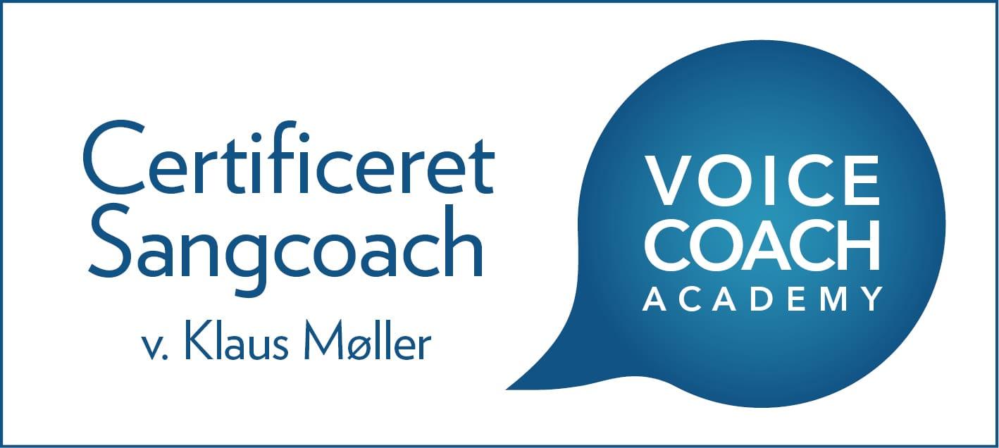 Certifikationslogo. Certificeret Sangcoach v. Klaus Møller.